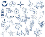 Hand drawn sea doodle Icons collection on white background. Vector illustration Stock Image