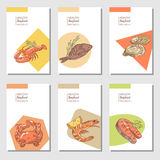 Hand Drawn Sea Food Cards Brochure Design with Fish Shrimp and Lobster Restaurant Menu Template Stock Photography