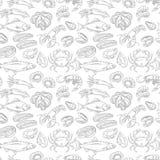 Hand drawn sea food seamless pattern. Vector illustration Royalty Free Stock Photos