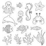 Hand Drawn Sea Life Creatures Stock Photography