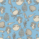 Hand drawn sea life illustration. Sketch seamless pattern Stock Image