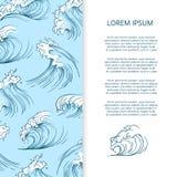 Hand drawn sea storm waves banner design. Hand drawn sea storm waves banner and poster design. Vector illustration stock illustration