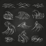 Hand drawn sea storm waves on blackboard. Hand drawn ocean and sea storm waves on blackboard. Vector illustration royalty free illustration