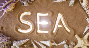 Hand-drawn Sea symbol in the sand. Beach background. Top view Royalty Free Stock Image