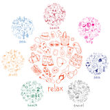 Hand drawn sea, travel, drinks, fruits, summer doodle Icons coll Royalty Free Stock Images