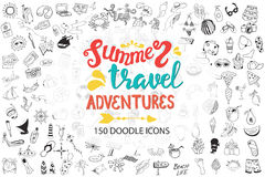 Hand drawn sea, travel, drinks, fruits, summer doodle Icons collection on white Stock Photos