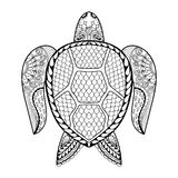 Hand drawn sea Turtle for adult coloring pages in doodle, zentan Royalty Free Stock Photography