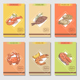 Hand Drawn Seafood Cards Design with Fish Crab and Lobster Restaurant Menu Template. Vector illustration Royalty Free Stock Photo