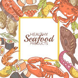 Hand Drawn Seafood Design with Fish Crab and Lobster Restaurant Menu. Vector illustration Royalty Free Stock Image