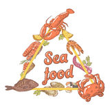 Hand Drawn Seafood Design with Fish Crab and Lobster. Vector illustration Royalty Free Stock Photos