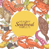 Hand Drawn Seafood Design with Fish Crab and Oysters restaurant Menu illustration. Hand Drawn Seafood Design with Fish Crab and Oysters restaurant Menu Vector Stock Photos