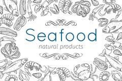 Hand drawn seafood design Stock Image
