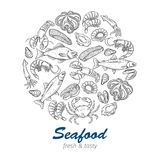 Hand drawn seafood design Royalty Free Stock Images
