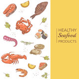 Hand Drawn Seafood Menu Design with Fish, Crab and Oysters. Vector illustration Stock Photography
