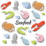 Hand drawn seafood set. Hand drawn colorful seafood set Stock Images