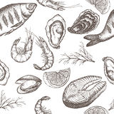 Hand drawn seafood vector seamless pattern Royalty Free Stock Image