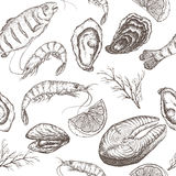 Hand drawn seafood vector seamless pattern Royalty Free Stock Photos