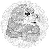 Hand drawn seal l in a scarf Royalty Free Stock Photography
