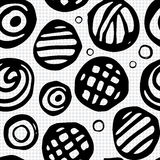 Hand Drawn Seamless Abstract Pattern. With Ink Doodles. Black And White Vector Background. Organic Geometric Design Royalty Free Stock Photos