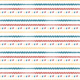 Hand drawn seamless abstract pattern. Vector horizontal stripes background. Colorful Royalty Free Stock Photography