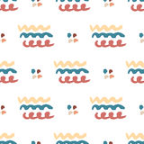 Hand drawn seamless abstract pattern. Vector wavy background.  Seamless texture in hipster style for web, print, fabric Royalty Free Stock Images