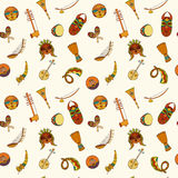 Hand-drawn seamless african music pattern. Royalty Free Stock Photos