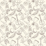 Hand-drawn seamless african music pattern. Royalty Free Stock Image