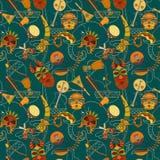 Hand-drawn seamless african music pattern. Stock Image