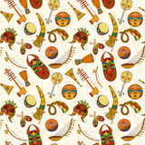 Hand-drawn seamless african music pattern. Royalty Free Stock Photography