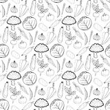 Hand drawn seamless background of  healthy vegetables. Vector illustration in doodle style. Vegetarian food. Black and white  patt Royalty Free Stock Image