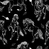 Hand drawn seamless background with horse Royalty Free Stock Photography