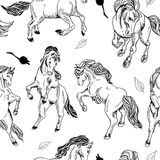 Hand drawn seamless background with horse Royalty Free Stock Photos
