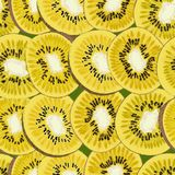 Hand-drawn seamless background with kiwi fruit, single, peeled and sliced, realistic drawing, Royalty Free Stock Images