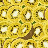 Hand-drawn seamless background with kiwi fruit, single, peeled and sliced, realistic drawing, Royalty Free Stock Photo