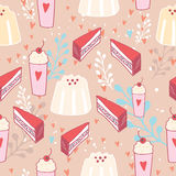 Hand drawn seamless background pattern Delicious dessert food Pudding Cake Royalty Free Stock Image