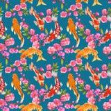 Hand drawn seamless background pattern inspired by chinese Korean and Japan kimono yukata background backdrop watercolor gouache royalty free illustration