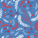 Hand drawn seamless background pattern Winter Christmas New Year style Stock Image