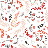 Hand drawn seamless background pattern Winter Christmas New Year style Royalty Free Stock Images