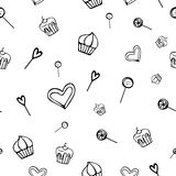 Hand-Drawn Seamless Background with Sweets, Cakes, Candy, Hearts and Lollipops in Vector Stock Photo