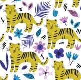 Hand drawn seamless background with tigers and flowers. royalty free illustration