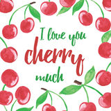 Hand drawn seamless  banner with cherries and inspiration words. Summer juicy berry background. Royalty Free Stock Photos