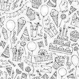 Hand-drawn seamless birthday pattern. Royalty Free Stock Images