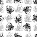 Hand drawn seamless black and white background. Stock Photos