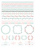 Hand-Drawn Seamless Borders And Design Elements Stock Photos