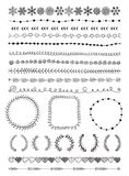 Hand-Drawn Seamless Borders and Design Elements Royalty Free Stock Images