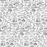 Hand drawn seamless breakfast pattern. Vector illustration with doodle breakfast elements for backgrounds, menu,  textile prints,wrapping, wallpapers Royalty Free Stock Images