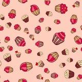 Hand drawn seamless cake pattern Royalty Free Stock Photography
