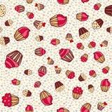Hand drawn seamless cake pattern Stock Photos