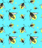 Hand-drawn seamless cartoon fireflies bugs design. Stock Images