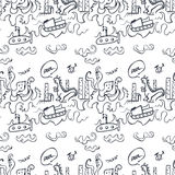 Hand drawn seamless cartoon pattern. Vector illustration. Layers are managed and arranged for easy editing Stock Images